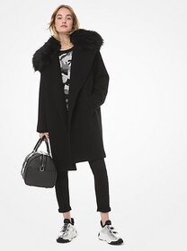 [object Object] Faux Fur-Trim Wool-Blend Coat