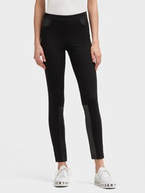 Donna Karan SKINNY PANT WITH FAUX-LEATHER TRIM