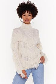 Nasty Gal Ecru Make Sway Cable Knit Fringe Sweater