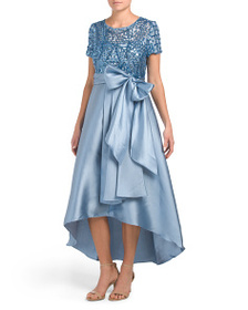 R&M RICHARDS Petite High Low Gown With Sequin Bodi