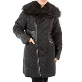 XOXO Junior Moto Quilted Jacket with Faux Fur Hood