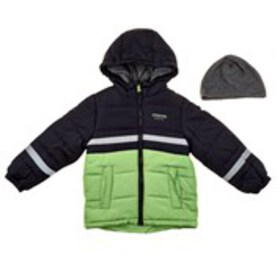 LONDON FOG Boys Color Block Hooded Puffer with Hat
