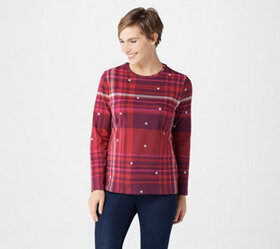"""As Is"" Denim & Co. Printed Perfect Jersey Round-N"