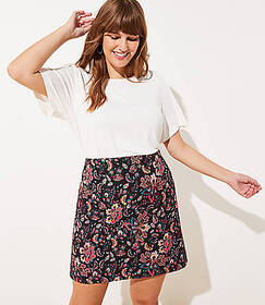 LOFT Plus Floral Jacquard Shift Skirt