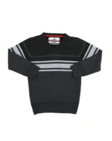 Arcade Styles striped color blocked v-neck sweater