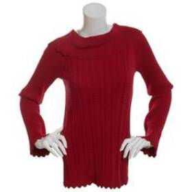 Petite Jeanne Pierre Long Sleeve Marilyn Neck Cabl