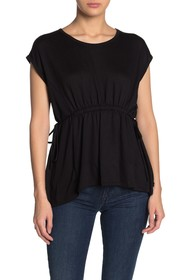 Bobeau Cinched Waist French Terry T-Shirt