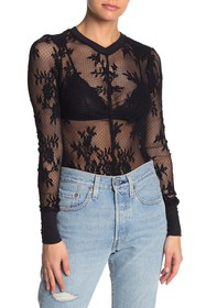 Free People Lace Knit Long Sleeve Layering Top