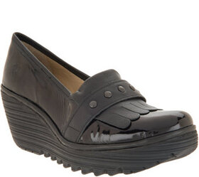 """As Is"" FLY London Leather Kiltie Wedges- Yela - A"