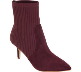 Marc Fisher Suede and Knit Ankle Boots - Albinia -