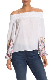 Ramy Brook Carly Embroidered Off-the-Shoulder Blou