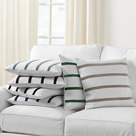 Velvet Striped Linen Pillow Cover - Select Colors