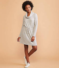 Lou & Grey Striped Brushmarl Cowl Drawstring Dress