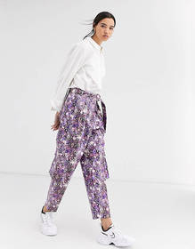 ASOS DESIGN purple snake leather look utility pant