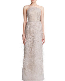 Marchesa Feather-Trimmed Embroidered Tulle Straple