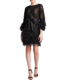 Marchesa Crystal Sequin-Embroidered Dress
