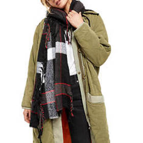 Free People Women's Valley Plaid Fringe Scarf