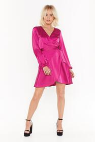 Nasty Gal Hot pink Touch and Go Wrap Satin Dress
