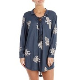ROXY Juniors Floral Tassel Lace Up Neck Cover Up