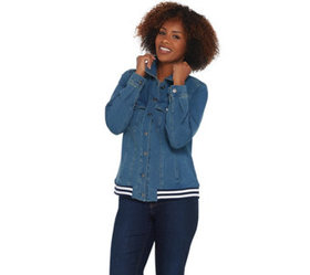 """As Is"" Denim & Co. Comfy Knit Jean Jacket with Ri"