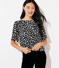 Spotted Bow Back Cropped Top