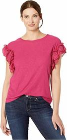 Vince Camuto Short Sleeve Eyelet Trim Mix Media To