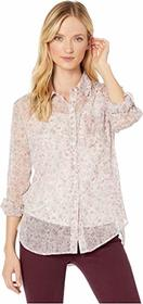Vince Camuto Long Sleeve Floral Layers Shirred Sho