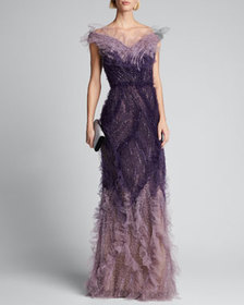 Marchesa Ombre Tulle Off-the-Shoulder Gown