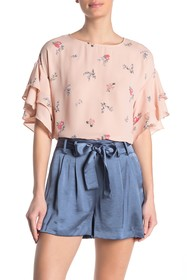 Vince Camuto Floral Tiered Ruffle Sleeve Top