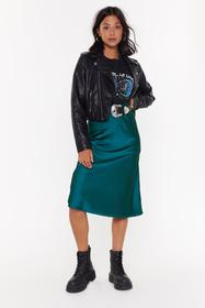 Nasty Gal Teal Just My Type Satin Midi Skirt
