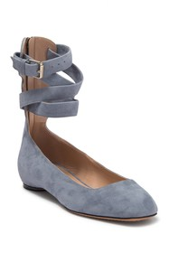 Valentino Suede Ankle Wrap Ballet Flat