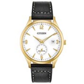 CITIZEN Citizen Eco-Drive Mens White Dial Gold Lea