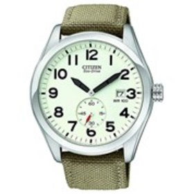 CITIZEN Citizen Eco-Drive Mens Ivory Dial Canvas S