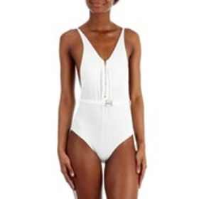 XOXO Juniors Ribbed Belted Zip Up One Piece Swim S