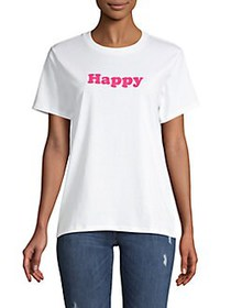 French Connection Happy Crewneck Cotton Tee WHITE