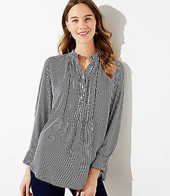 Striped Pintucked Tunic Blouse