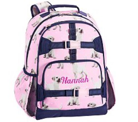 Pottery Barn Mackenzie Pink Navy Puppy Backpack