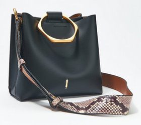 """As Is"" THACKER Small Leather Tote with Hexagon Ha"