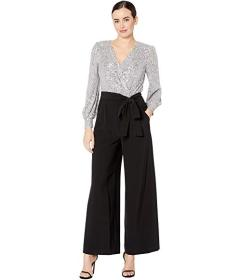 Tahari by ASL Long Sleeve Stretch Sequin and Chiff