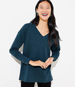 V-Neck Tunic Sweatshirt