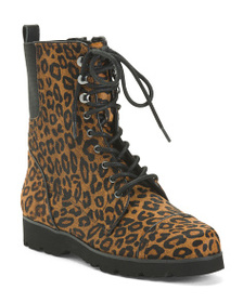 reveal designer Haircalf Leopard Combat Boots