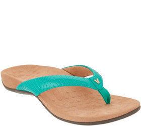 """As Is"" Vionic Patent Thong Sandals w/ 'V' Detail"