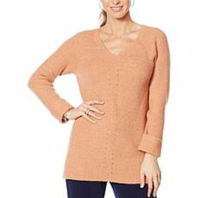 """As Is"" Nina Leonard V-Neck Long-Sleeve Sweater Tu"