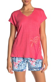 Tommy Bahama Palm Paradiso Embroidered Linen T-Shi