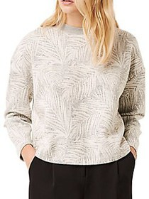 French Connection Sekia Palm-Print Jersey Top GREY
