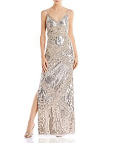 Aidan Mattox - V-Neck Beaded Gown