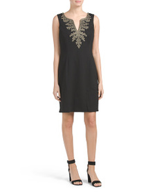 PAPPAGALLO Textured Knit Sheath Dress With Scroll