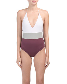 Made In Usa Color Block One-piece Swimsuit