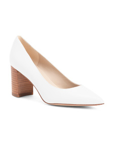 MARC FISHER Pointy Toe Block Heel Leather Pumps