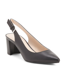 MARC FISHER Sling Back Pointy Toe Leather Pumps